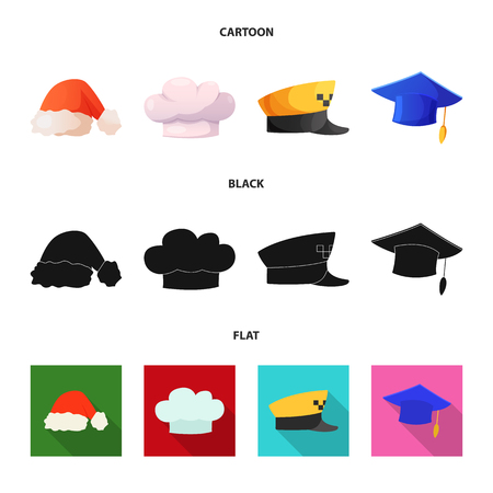 Vector illustration of headwear and cap sign. Collection of headwear and accessory stock vector illustration.