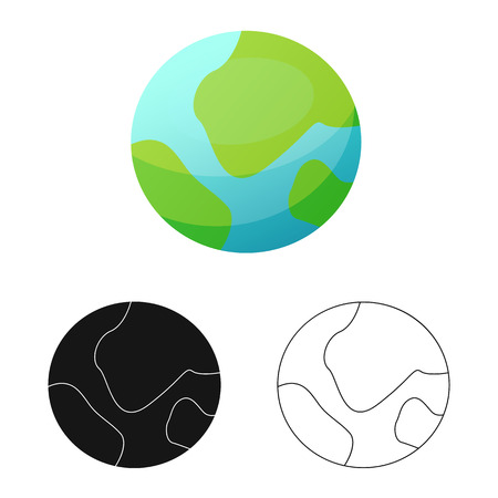 Vector illustration of mars and space icon. Set of mars and planet stock symbol for web.