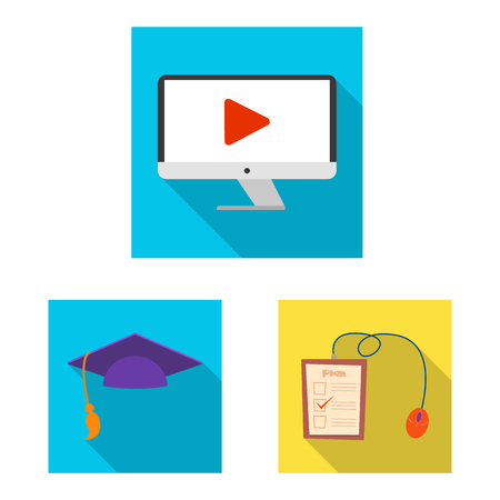 Vector design of education and learning symbol. Set of education and school stock symbol for web. Vectores