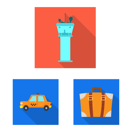 Vector illustration of airport and airplane symbol. Collection of airport and plane stock symbol for web.