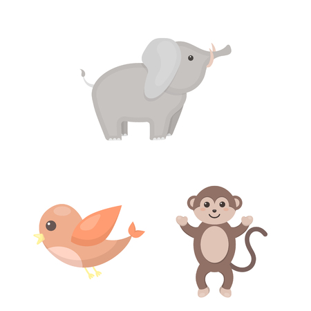 An unrealistic cartoon animal icons in set collection for design. Toy animals vector symbol stock  illustration.