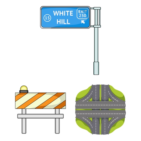 Road junctions and signs and other icon in cartoon style.Pedestrian crossings and signs icons in set collection.