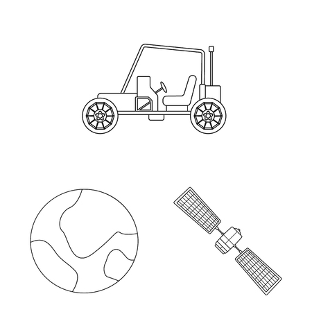 Vector design of mars and space symbol. Collection of mars and planet stock symbol for web.