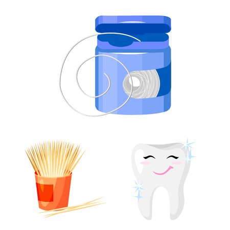 Dental care cartoon icons in set collection for design. Care of teeth vector symbol stock  illustration. 向量圖像