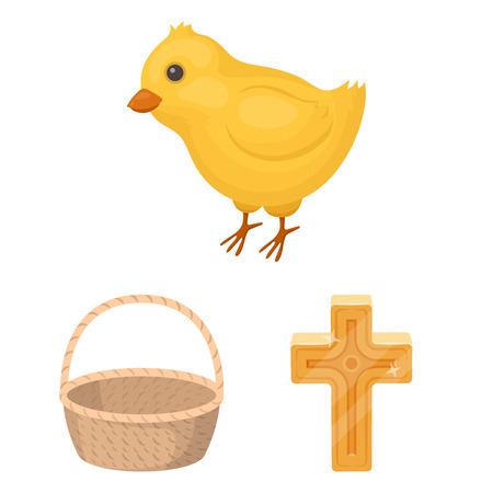 Easter is a Christian holiday cartoon icons in set collection for design. Easter attributes vector symbol stock  illustration.