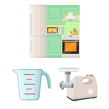 Kitchen equipment cartoon icons in set collection for design. Kitchen and accessories vector symbol stock  illustration. Çizim