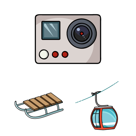 Ski resort and equipment cartoon icons in set collection for design. Entertainment and recreation vector symbol stock  illustration.