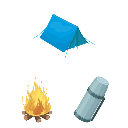Different kinds of tents cartoon icons in set collection for design. Temporary shelter and housing vector symbol stock  illustration.