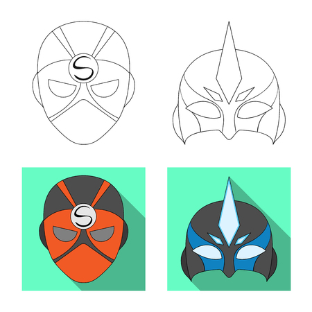 Vector illustration of hero and mask logo. Collection of hero and superhero vector icon for stock.