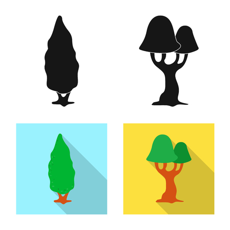 Vector design of tree and nature logo. Set of tree and crown vector icon for stock.