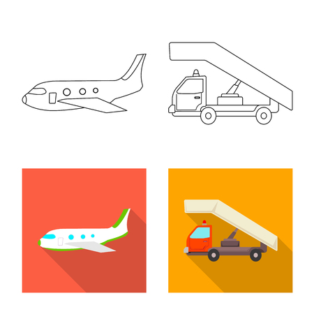 Vector illustration of airport and airplane sign. Collection of airport and plane vector icon for stock. Иллюстрация