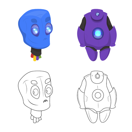 Vector design of robot and factory logo. Collection of robot and space vector icon for stock.