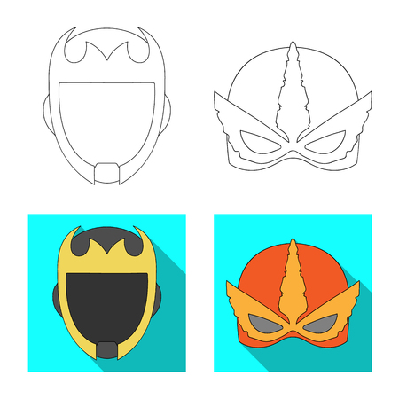 Vector illustration of hero and mask symbol. Collection of hero and superhero vector icon for stock. Illustration