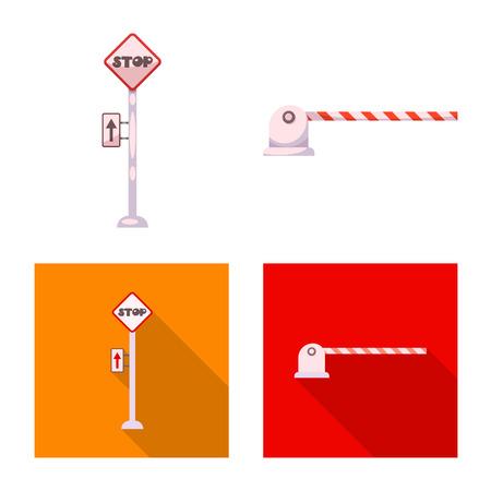 駅と駅のアイコンのベクトルデザイン。ウェブ用の列車とチケットの銘柄記号のセット。