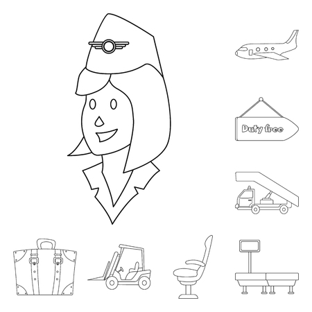 Vector design of airport and airplane logo. Set of airport and plane stock symbol for web.