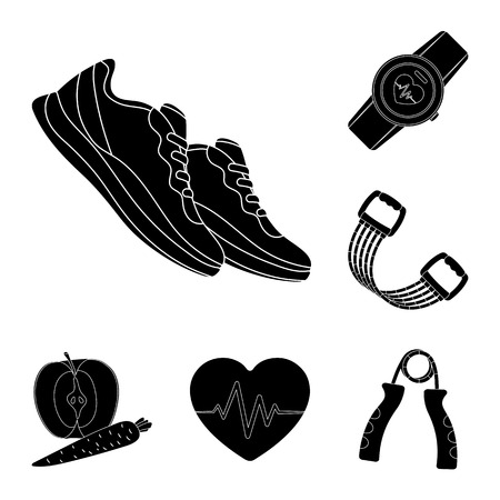 Gym and training black icons in set collection for design. Gym and equipment vector symbol stock web illustration. Illusztráció