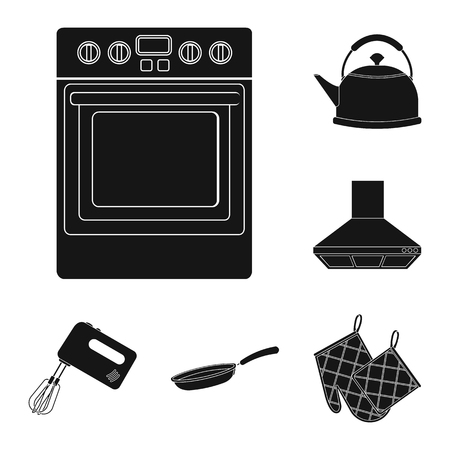 Kitchen equipment black icons in set collection for design. Kitchen and accessories vector symbol stock web illustration. Ilustrace