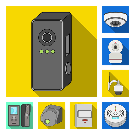 Vector design of cctv and camera sign. Set of cctv and system stock symbol for web.