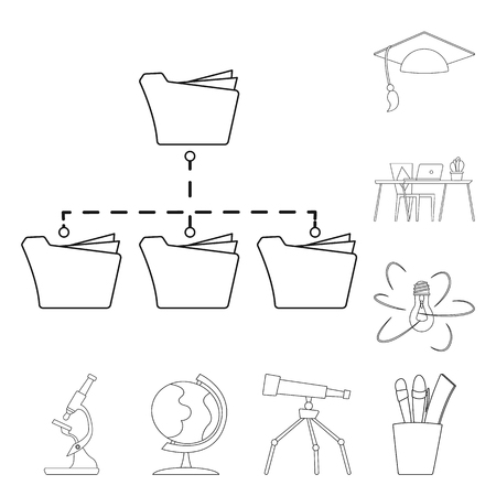 Vector design of education and learning logo. Collection of education and school stock vector illustration.