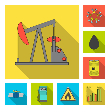 Oil industry flat icons in set collection for design. Equipment and oil production vector symbol stock web illustration. Ilustracja