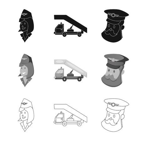 Vector illustration of airport and airplane sign. Collection of airport and plane stock symbol for web. Ilustração