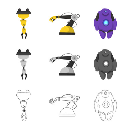 Isolated object of robot and factory icon. Collection of robot and space stock symbol for web. Ilustrace