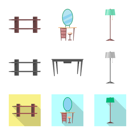 Isolated object of furniture and apartment logo. Collection of furniture and home vector icon for stock.