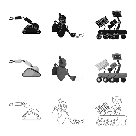 Vector illustration of robot and factory sign. Set of robot and space vector icon for stock. Vector Illustration