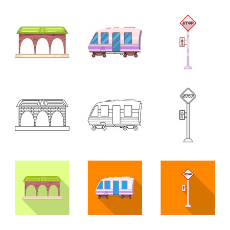 Isolated object of train and station icon. Set of train and ticket stock vector illustration. Ilustração