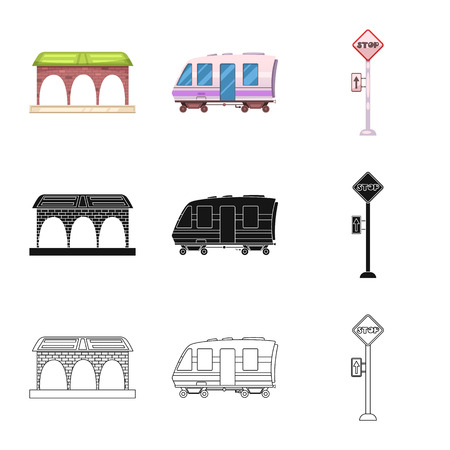 Isolated object of train and station icon. Collection of train and ticket stock vector illustration.