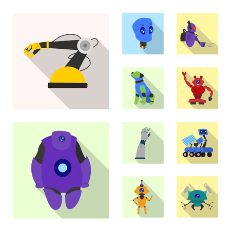 Isolated object of robot and factory logo. Collection of robot and space stock vector illustration. Ilustrace