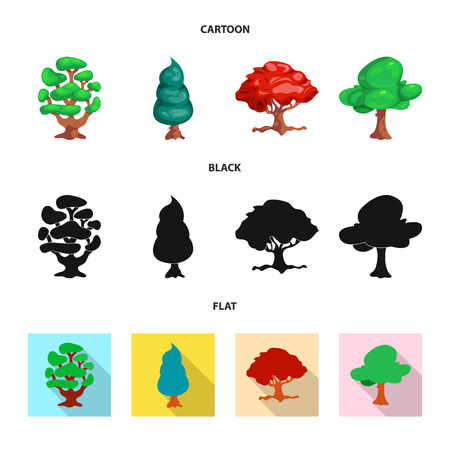 Vector illustration of tree and nature symbol. Collection of tree and crown stock symbol for web.