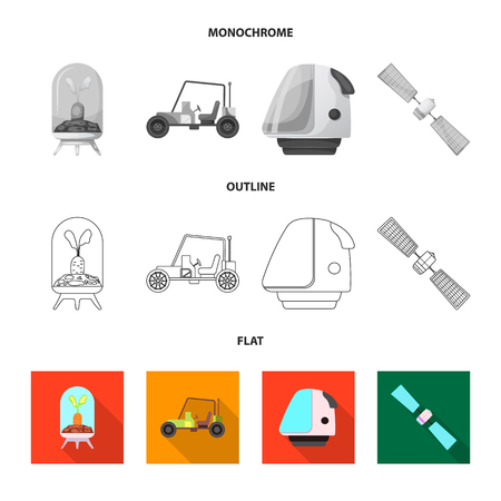 Isolated object of mars and space icon. Collection of mars and planet vector icon for stock. Illustration
