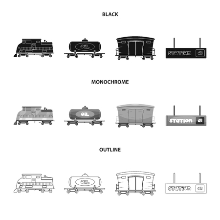 Vector design of train and station icon. Collection of train and ticket vector icon for stock.