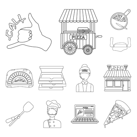 Pizza and pizzeria outline icons in set collection for design. Staff and equipment vector symbol stock web illustration. Ilustração