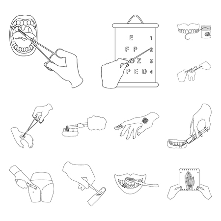 Manipulation by hands outline icons in set collection for design. Hand movement in medicine vector symbol stock web illustration.