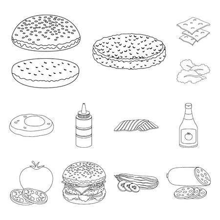 Burger and ingredients outline icons in set collection for design. Burger cooking vector symbol stock web illustration. Ilustracje wektorowe