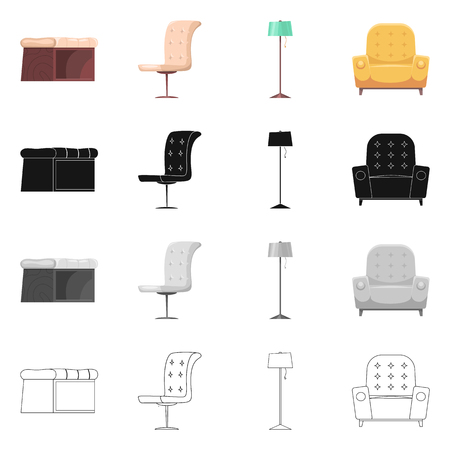 Isolated object of furniture and apartment sign. Set of furniture and home vector icon for stock. Vectores