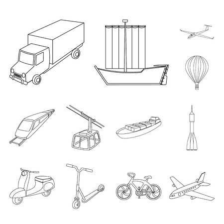 Different types of transport outline icons in set collection for design. Car and ship vector symbol stock web illustration. Stock Photo