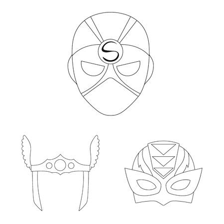 Vector design of hero and mask logo. Set of hero and superhero stock vector illustration.