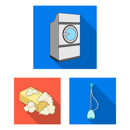 Dry cleaning equipment flat icons in set collection for design. Washing and ironing clothes vector symbol stock  illustration.
