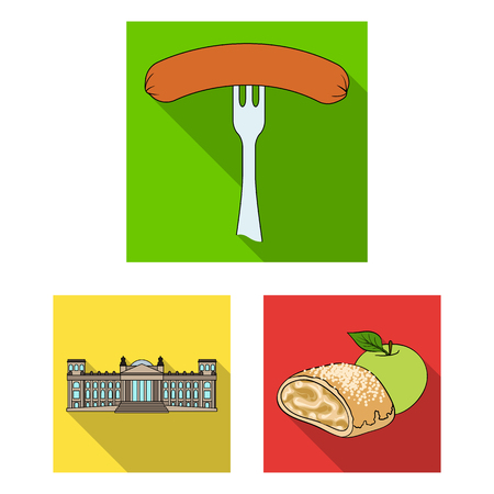 Country Germany flat icons in set collection for design. Germany and landmark vector symbol stock  illustration.