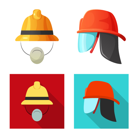 Isolated object of headgear and cap logo. Set of headgear and accessory stock vector illustration. Vectores