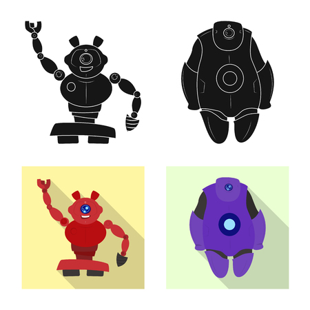 Vector design of robot and factory sign. Collection of robot and space stock symbol for web.