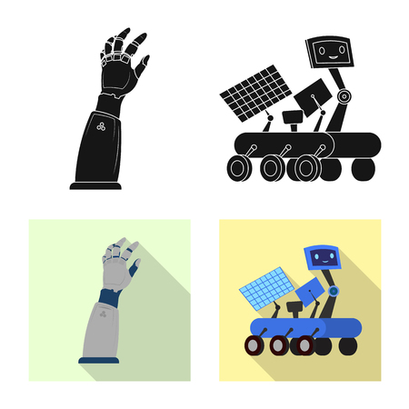 Vector design of robot and factory sign. Set of robot and space stock symbol for web.