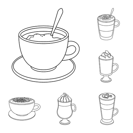 Different kinds of coffee outline icons in set collection for design. Coffee drink vector symbol stock web illustration.
