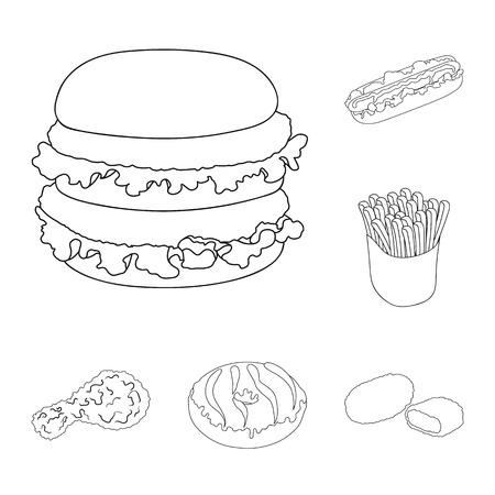 Fast-Food-Umrissikonen in der Set-Sammlung für Design. Lebensmittel aus halbfertigen Produkten Vektorsymbol Lager Web-Illustration. Vektorgrafik