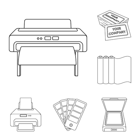 Typographical products outline icons in set collection for design. Printing and equipment vector symbol stock web illustration. Ilustração