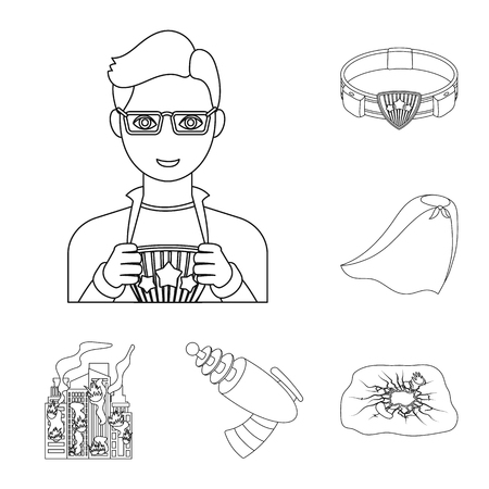 A fantastic superhero outline icons in set collection for design. Superheros equipment vector symbol stock web illustration.