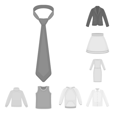 Different kinds of clothes monochrome icons in set collection for design. Clothes and style vector symbol stock web illustration. Illusztráció